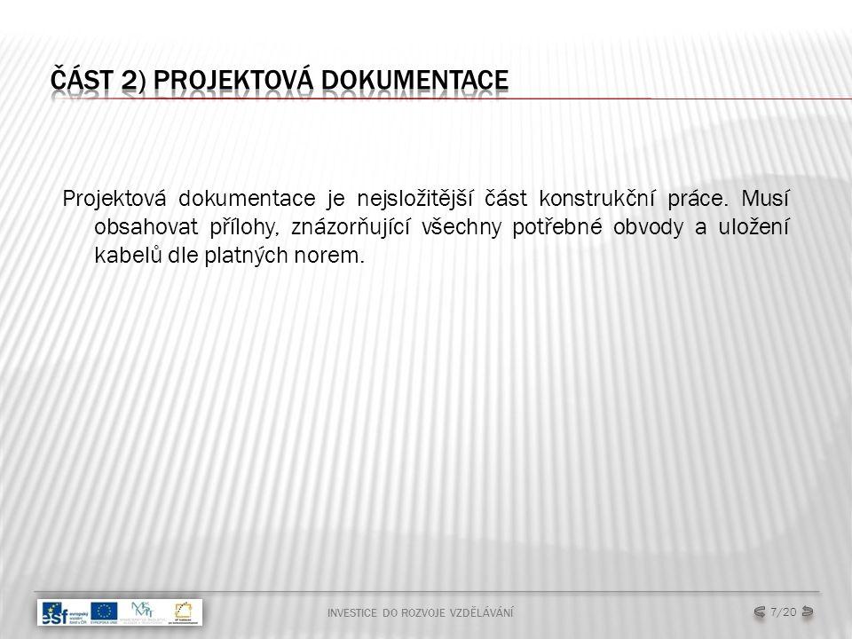 INVESTICE DO ROZVOJE VZDĚLÁVÁNÍ 7/20 Projektová dokumentace je nejsložitější část konstrukční práce.