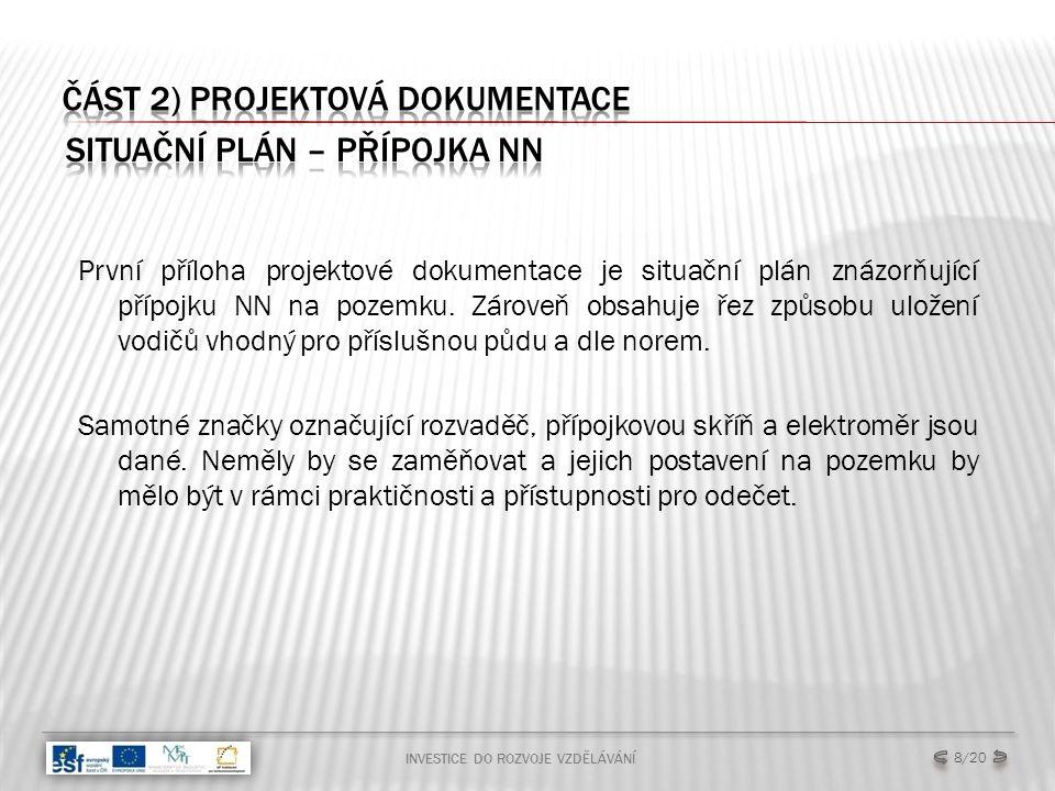 První příloha projektové dokumentace je situační plán znázorňující přípojku NN na pozemku.