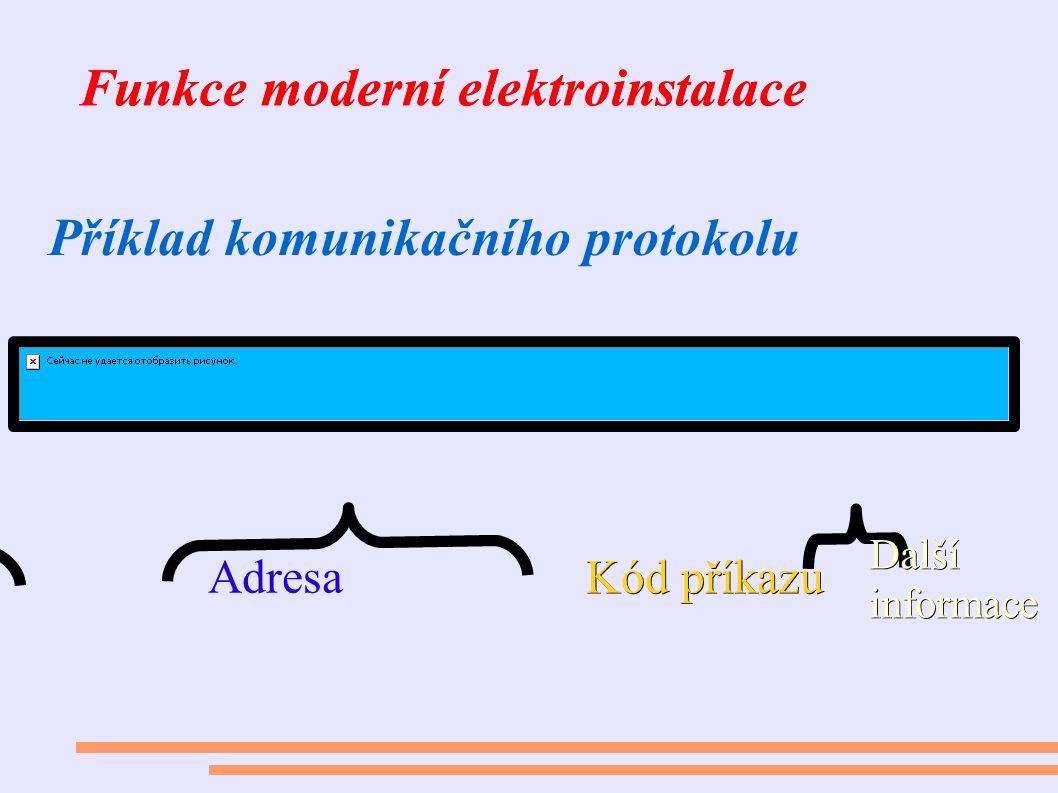 Funkce moderní elektroinstalace Příklad komunikačního protokolu Adresa Kód příkazu Další informace