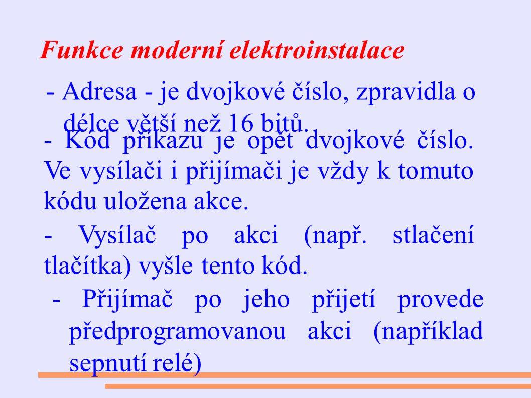Funkce moderní elektroinstalace - Adresa - je dvojkové číslo, zpravidla o délce větší než 16 bitů. - Kód příkazu je opět dvojkové číslo. Ve vysílači i