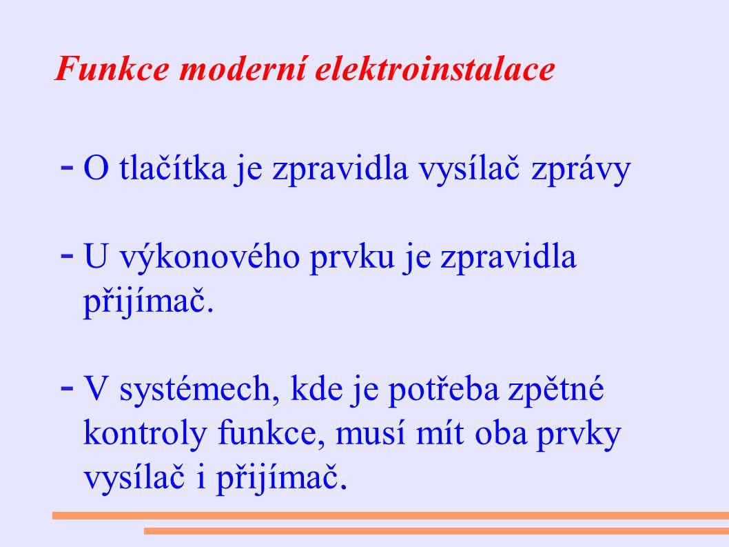 Funkce moderní elektroinstalace - O tlačítka je zpravidla vysílač zprávy - U výkonového prvku je zpravidla přijímač.. - V systémech, kde je potřeba zp