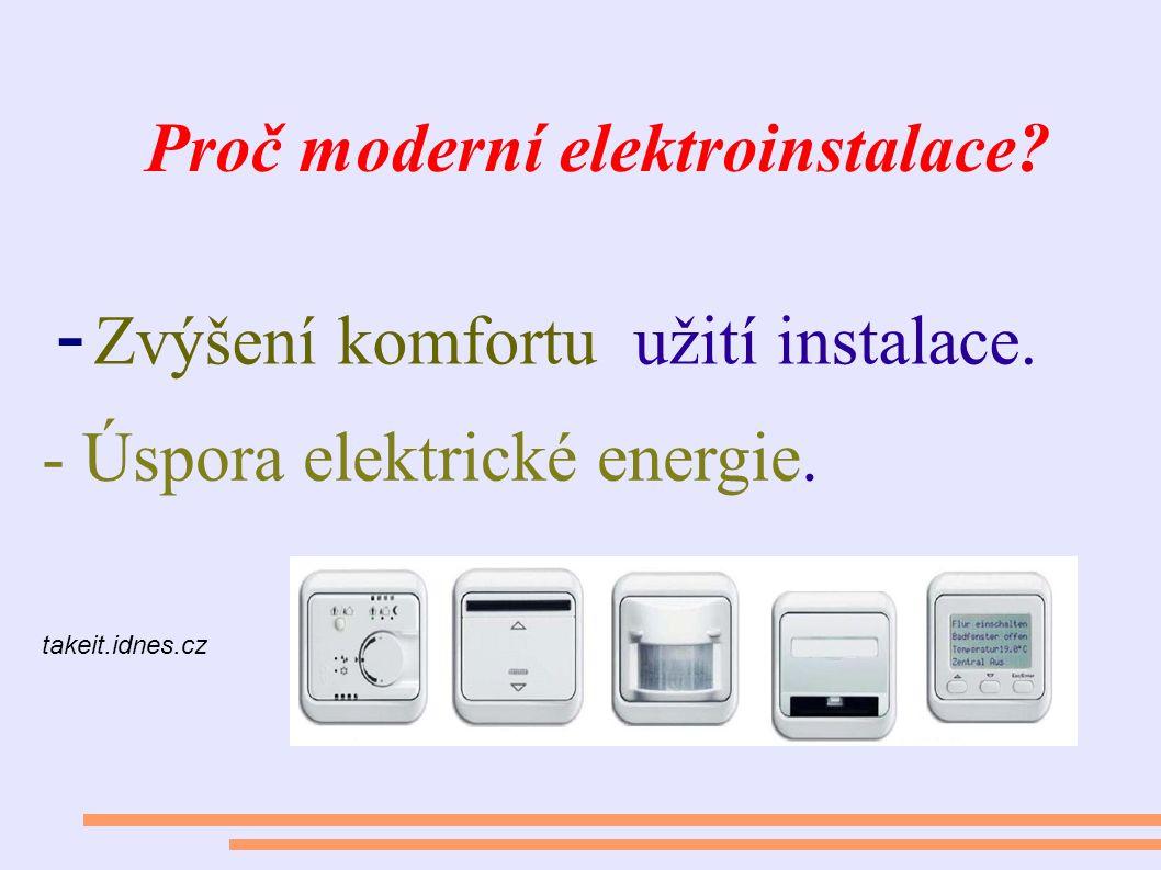 Proč moderní elektroinstalace? - Zvýšení komfortu užití instalace. takeit.idnes.cz - Úspora elektrické energie.