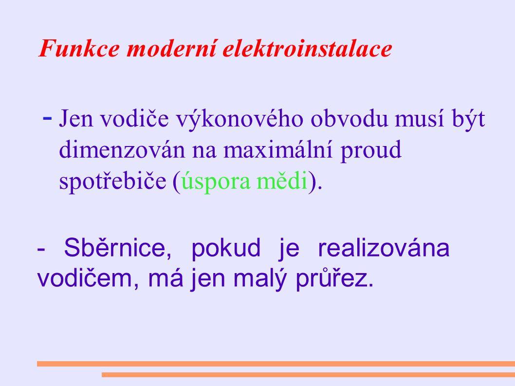 Funkce moderní elektroinstalace - Jen vodiče výkonového obvodu musí být dimenzován na maximální proud spotřebiče (úspora mědi). - Sběrnice, pokud je r