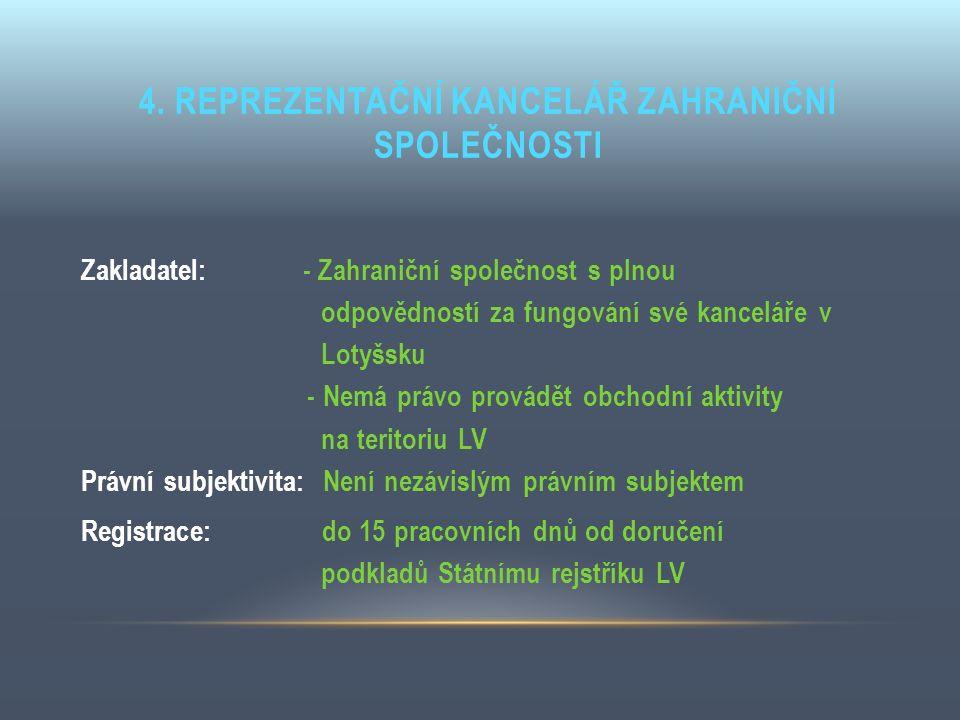 4. REPREZENTAČNÍ KANCELÁŘ ZAHRANIČNÍ SPOLEČNOSTI Zakladatel: - Zahraniční společnost s plnou odpovědností za fungování své kanceláře v Lotyšsku - Nemá