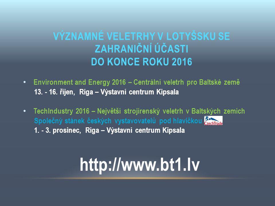 VÝZNAMNÉ VELETRHY V LOTYŠSKU SE ZAHRANIČNÍ ÚČASTI DO KONCE ROKU 2016 Environment and Energy 2016 – Centrální veletrh pro Baltské země 13. - 16. říjen,