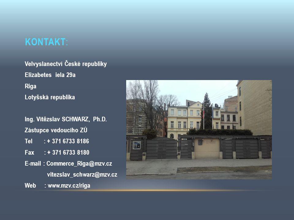 KONTAKT : Velvyslanectví České republiky Elizabetes iela 29a Riga Lotyšská republika Ing. Vítězslav SCHWARZ, Ph.D. Zástupce vedoucího ZÚ Tel : + 371 6