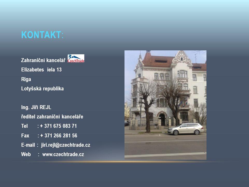 KONTAKT : Zahraniční kancelář Elizabetes iela 13 Riga Lotyšská republika Ing. Jiří REJL ředitel zahraniční kanceláře Tel : + 371 675 083 71 Fax : + 37