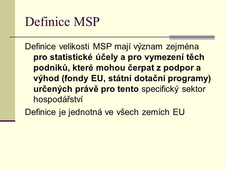 Definice MSP Definice velikosti MSP mají význam zejména pro statistické účely a pro vymezení těch podniků, které mohou čerpat z podpor a výhod (fondy EU, státní dotační programy) určených právě pro tento specifický sektor hospodářství Definice je jednotná ve všech zemích EU