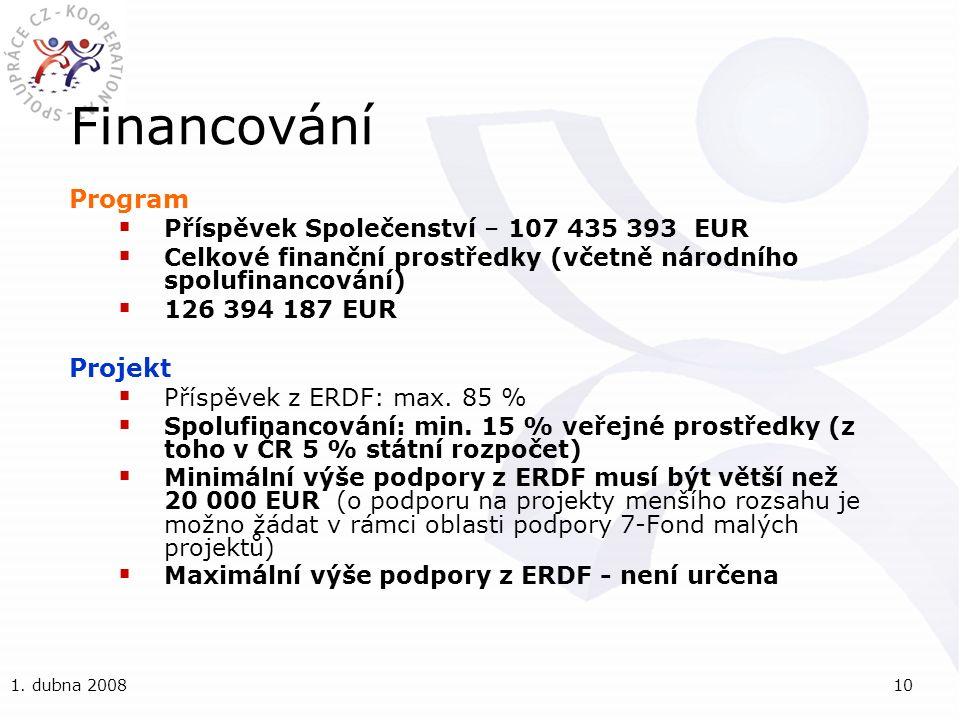 1. dubna 200810 Financování Program  Příspěvek Společenství – 107 435 393 EUR  Celkové finanční prostředky (včetně národního spolufinancování)  126