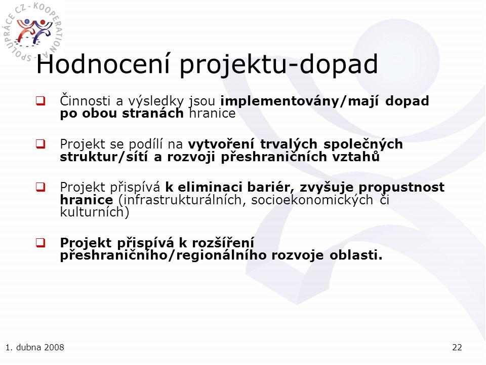 1. dubna 200822 Hodnocení projektu-dopad  Činnosti a výsledky jsou implementovány/mají dopad po obou stranách hranice  Projekt se podílí na vytvořen