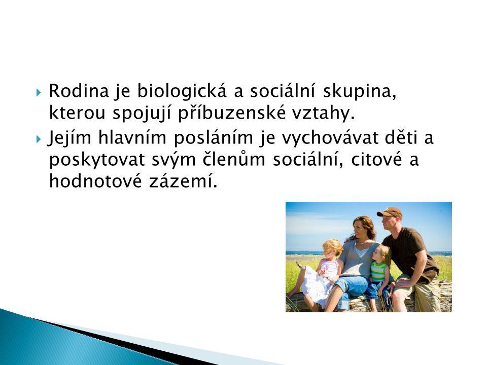  Rodina je biologická a sociální skupina, kterou spojují příbuzenské vztahy.
