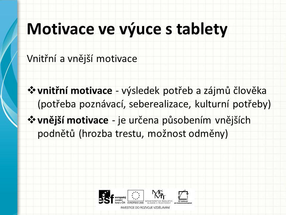 Motivace ve výuce s tablety Vnitřní a vnější motivace  vnitřní motivace - výsledek potřeb a zájmů člověka (potřeba poznávací, seberealizace, kulturní