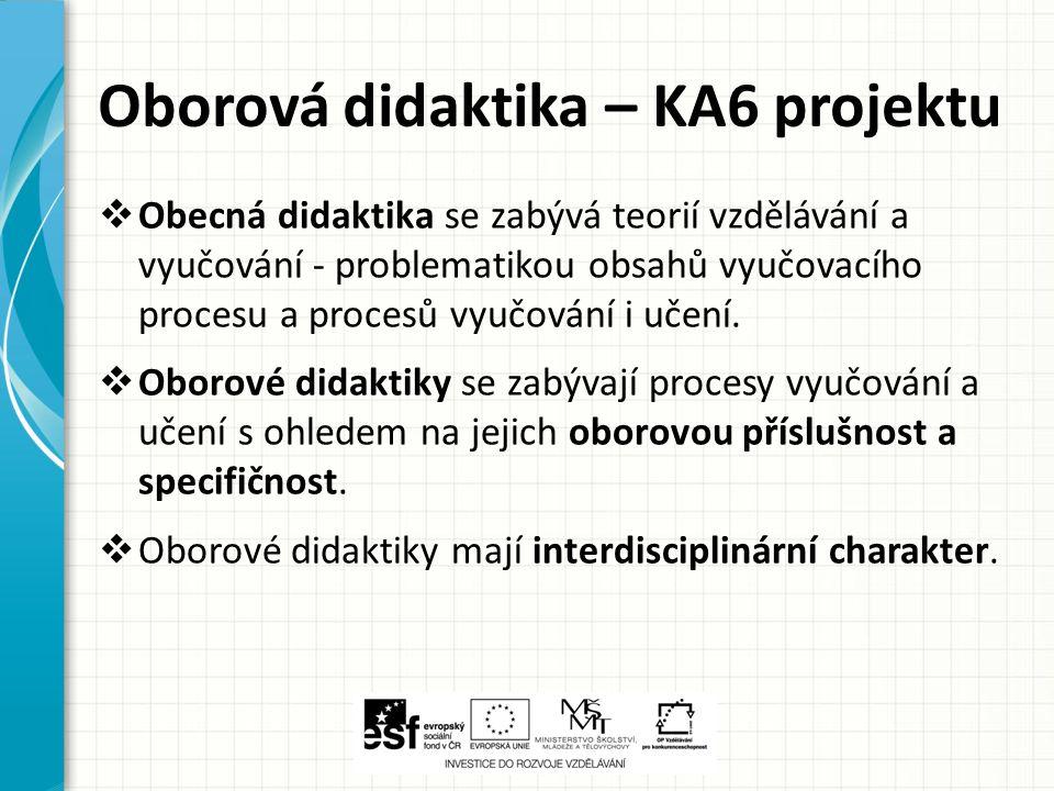 Oborová didaktika – KA6 projektu  Obecná didaktika se zabývá teorií vzdělávání a vyučování - problematikou obsahů vyučovacího procesu a procesů vyučo