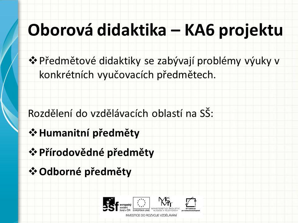 Oborová didaktika – KA6 projektu  Předmětové didaktiky se zabývají problémy výuky v konkrétních vyučovacích předmětech. Rozdělení do vzdělávacích obl