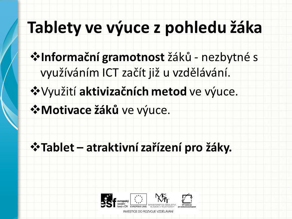 Tablety ve výuce z pohledu žáka  Informační gramotnost žáků - nezbytné s využíváním ICT začít již u vzdělávání.  Využití aktivizačních metod ve výuc