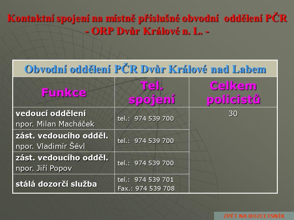 Kontaktní spojení OŘ PČR Trutnov Funkce Tel. spojení Celkem policistů ředitel plk.