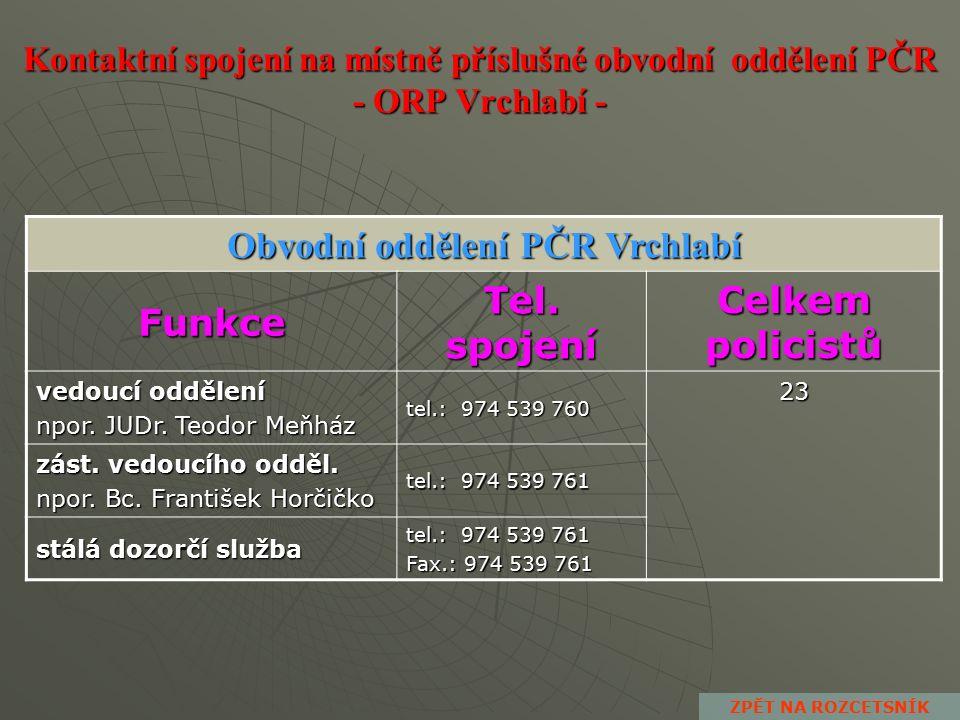Kontaktní spojení na místně příslušné obvodní oddělení PČR - ORP Dvůr Králové n.