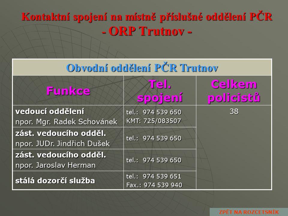 Kontaktní spojení na místně příslušné obvodní oddělení PČR - ORP Vrchlabí - Obvodní oddělení PČR Hostinné Funkce Tel.
