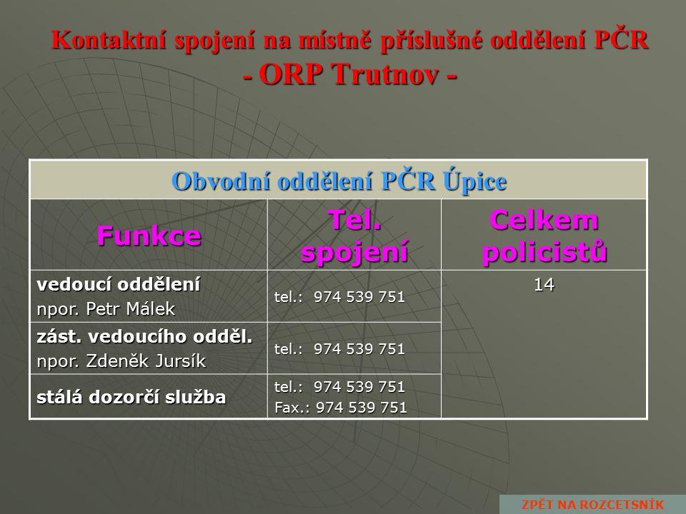 Kontaktní spojení na místně příslušné oddělení PČR - ORP Trutnov - Obvodní oddělení PČR Trutnov Funkce Tel.
