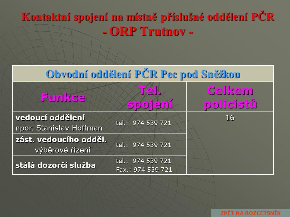 Kontaktní spojení na místně příslušné oddělení PČR - ORP Trutnov - Obvodní oddělení PČR Svoboda nad Úpou Funkce Tel.