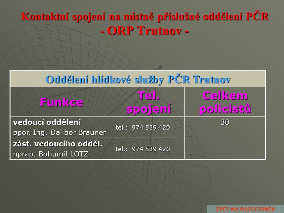 Kontaktní spojení na místně příslušné oddělení PČR - ORP Trutnov - Obvodní oddělení PČR Žacléř Funkce Tel.