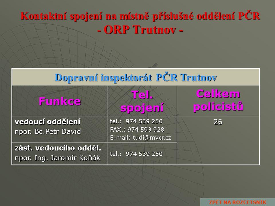 Kontaktní spojení na místně příslušné oddělení PČR - ORP Trutnov - Oddělení hlídkové služby PČR Trutnov Funkce Tel.