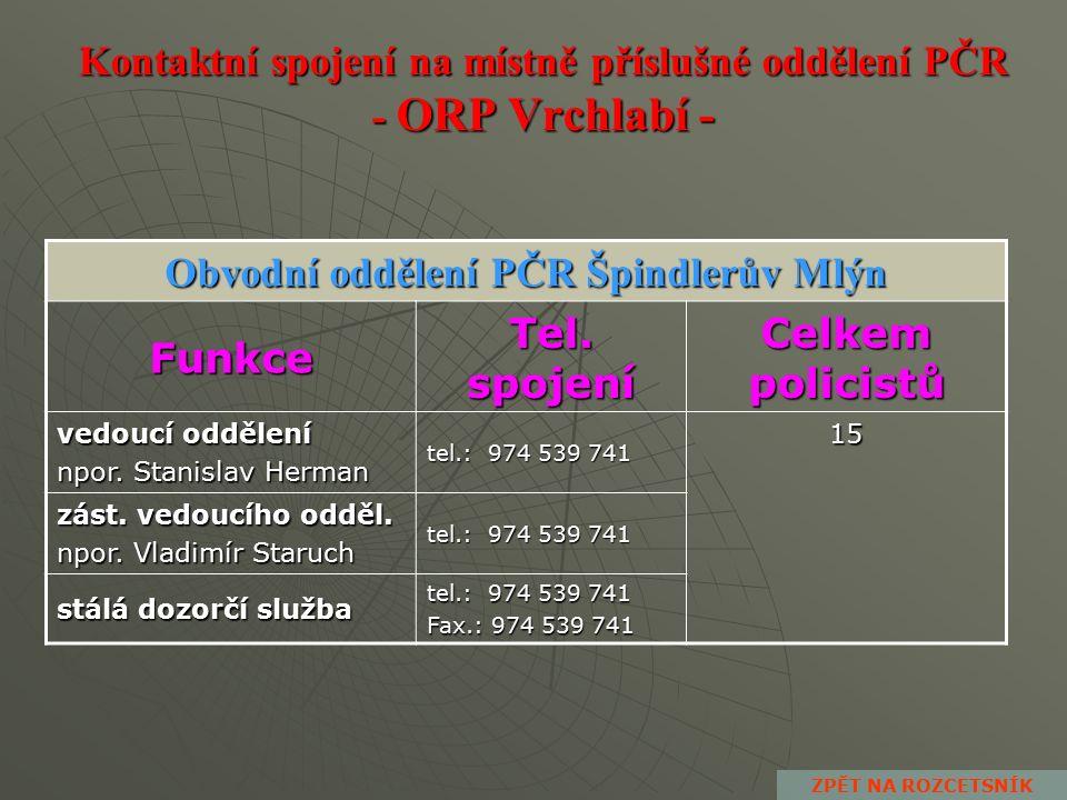 Kontaktní spojení na místně příslušné oddělení PČR - ORP Trutnov - Dopravní inspektorát PČR Trutnov Funkce Tel.
