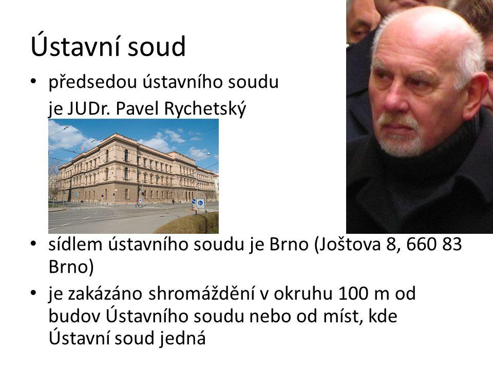 Ústavní soud předsedou ústavního soudu je JUDr. Pavel Rychetský sídlem ústavního soudu je Brno (Joštova 8, 660 83 Brno) je zakázáno shromáždění v okru