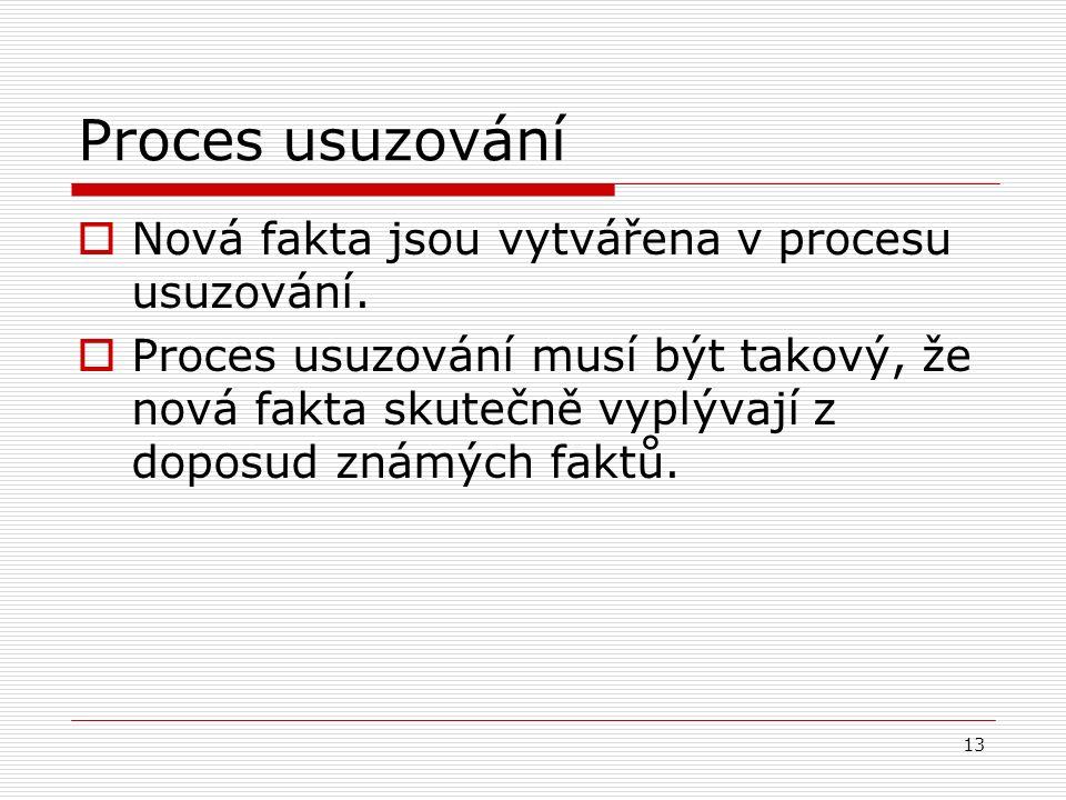 13 Proces usuzování  Nová fakta jsou vytvářena v procesu usuzování.