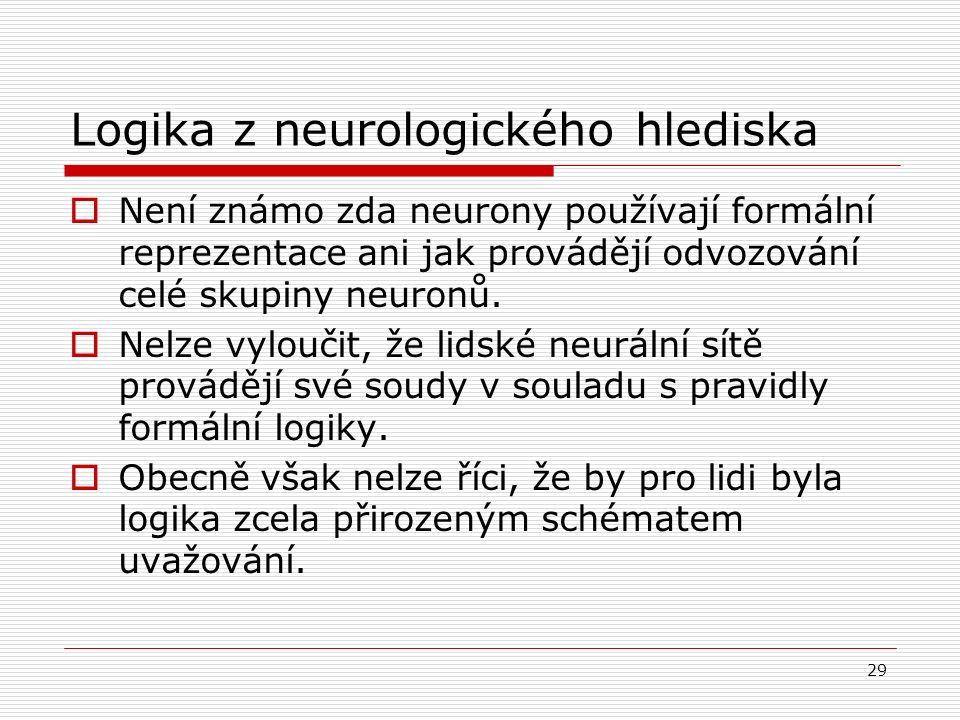 29 Logika z neurologického hlediska  Není známo zda neurony používají formální reprezentace ani jak provádějí odvozování celé skupiny neuronů.