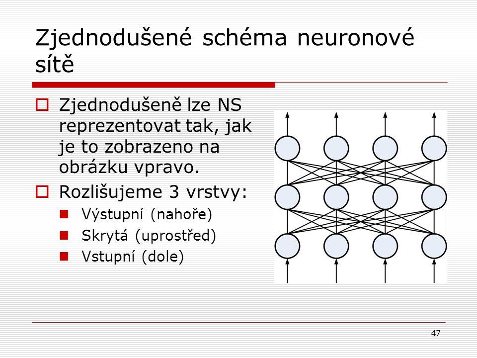 47 Zjednodušené schéma neuronové sítě  Zjednodušeně lze NS reprezentovat tak, jak je to zobrazeno na obrázku vpravo.