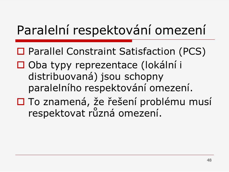48 Paralelní respektování omezení  Parallel Constraint Satisfaction (PCS)  Oba typy reprezentace (lokální i distribuovaná) jsou schopny paralelního respektování omezení.