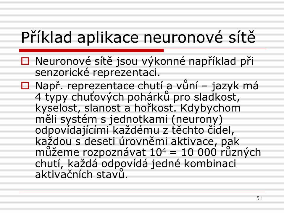 51 Příklad aplikace neuronové sítě  Neuronové sítě jsou výkonné například při senzorické reprezentaci.