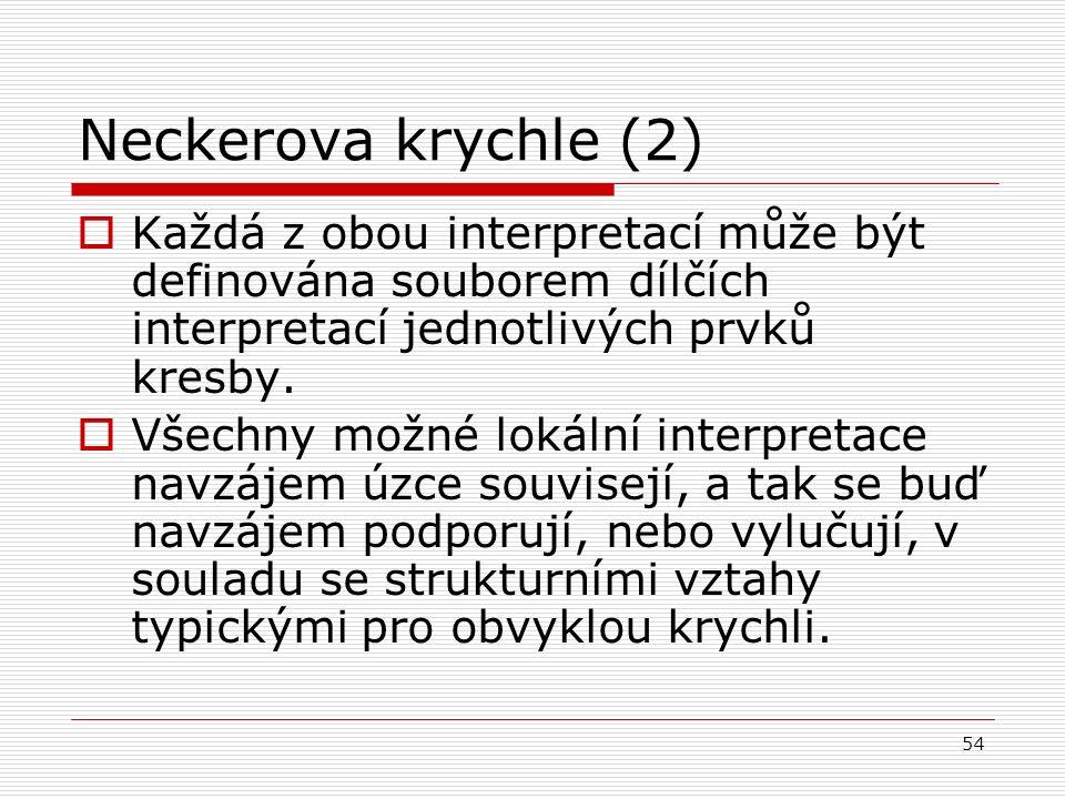 54 Neckerova krychle (2)  Každá z obou interpretací může být definována souborem dílčích interpretací jednotlivých prvků kresby.