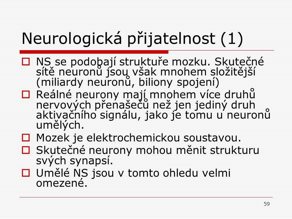 59 Neurologická přijatelnost (1)  NS se podobají struktuře mozku.