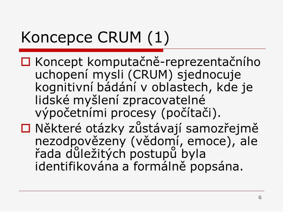 6 Koncepce CRUM (1)  Koncept komputačně-reprezentačního uchopení mysli (CRUM) sjednocuje kognitivní bádání v oblastech, kde je lidské myšlení zpracovatelné výpočetními procesy (počítači).
