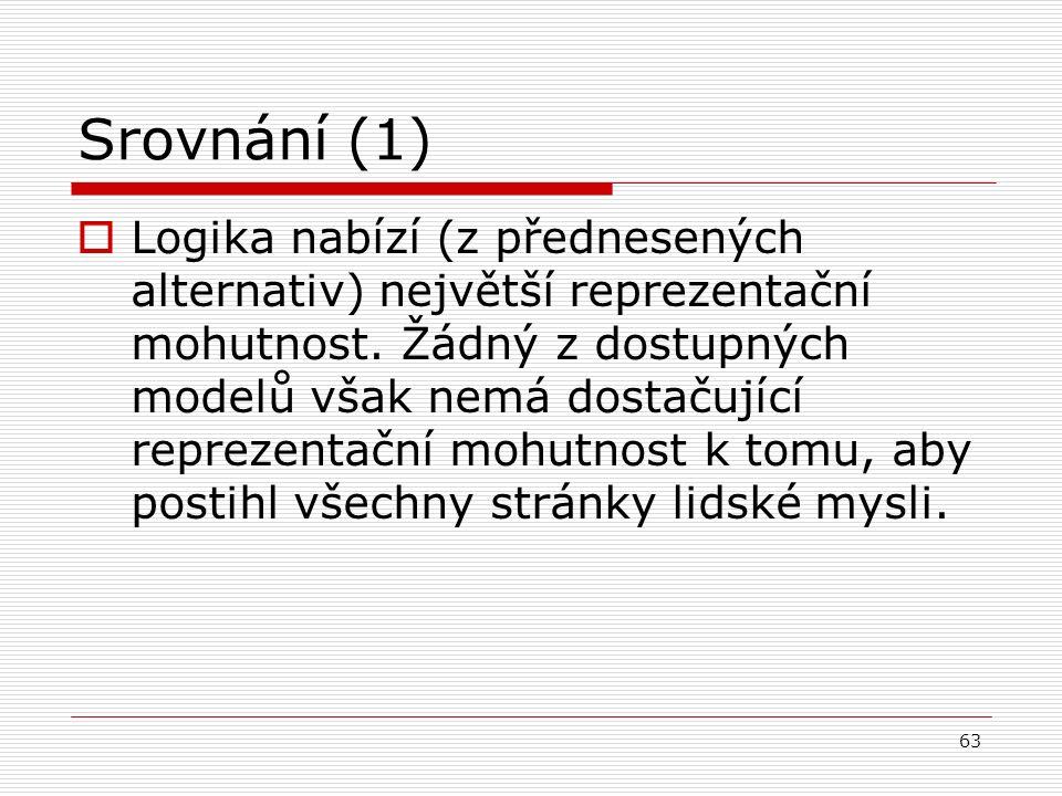 63 Srovnání (1)  Logika nabízí (z přednesených alternativ) největší reprezentační mohutnost.