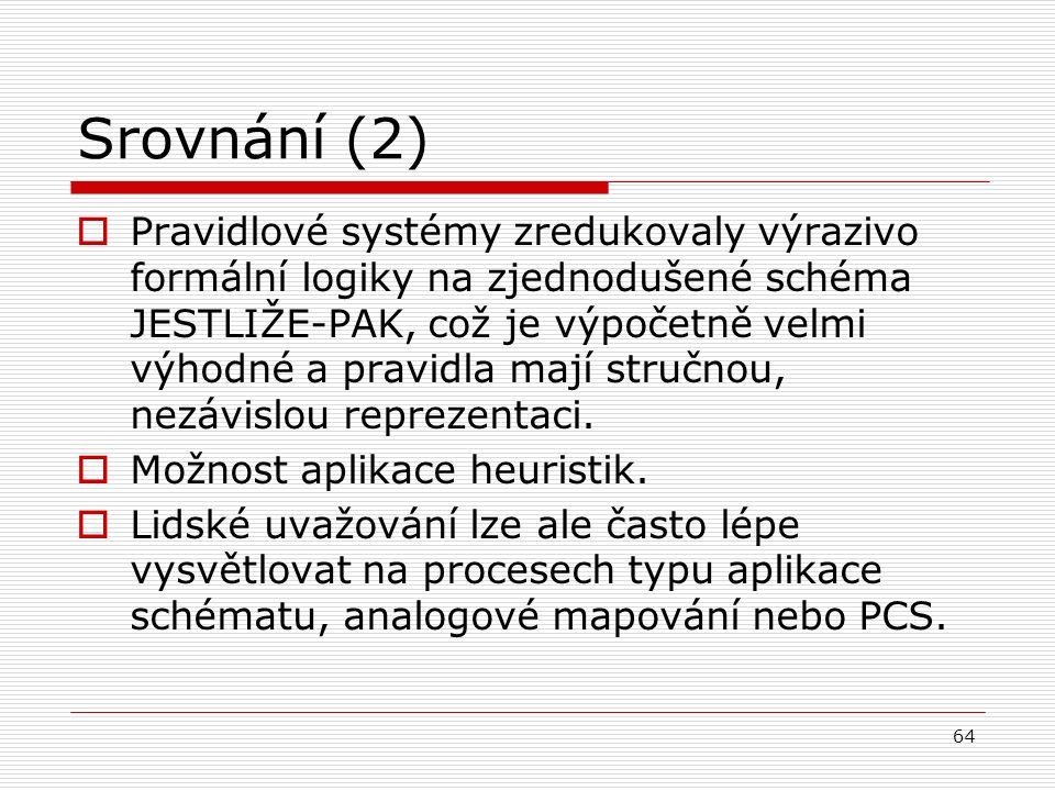 64 Srovnání (2)  Pravidlové systémy zredukovaly výrazivo formální logiky na zjednodušené schéma JESTLIŽE-PAK, což je výpočetně velmi výhodné a pravidla mají stručnou, nezávislou reprezentaci.