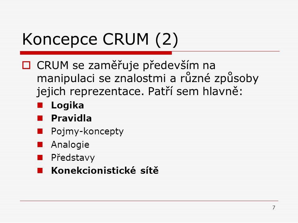 8 Koncepce CRUM (3)  K pochopení lidského myšlení je zapotřebí řady reprezentací a výpočetních postupů – žádný z nich přitom neumožňuje pochopení všech stránek myšlenkových pochodů.