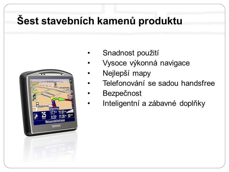 Snadnost použití Vysoce výkonná navigace Nejlepší mapy Telefonování se sadou handsfree Bezpečnost Inteligentní a zábavné doplňky Šest stavebních kamenů produktu