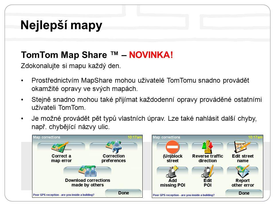 TomTom Map Share ™ – NOVINKA. Zdokonalujte si mapu každý den.