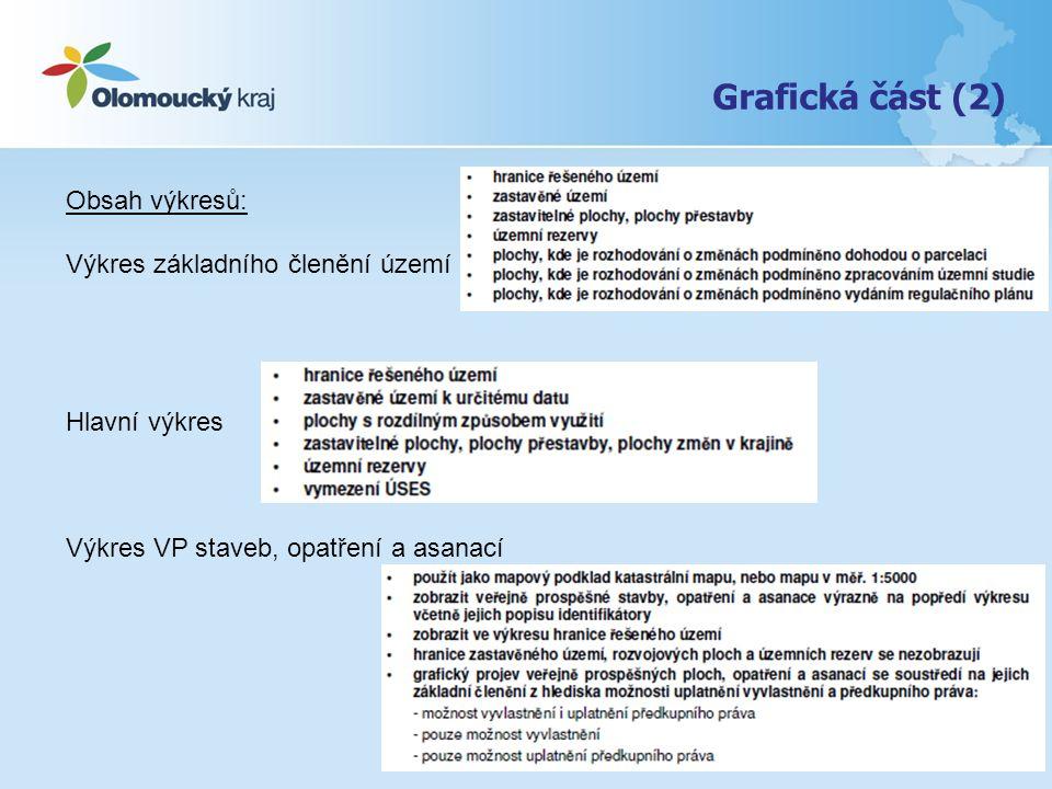 Grafická část (2) Obsah výkresů: Výkres základního členění území Hlavní výkres Výkres VP staveb, opatření a asanací