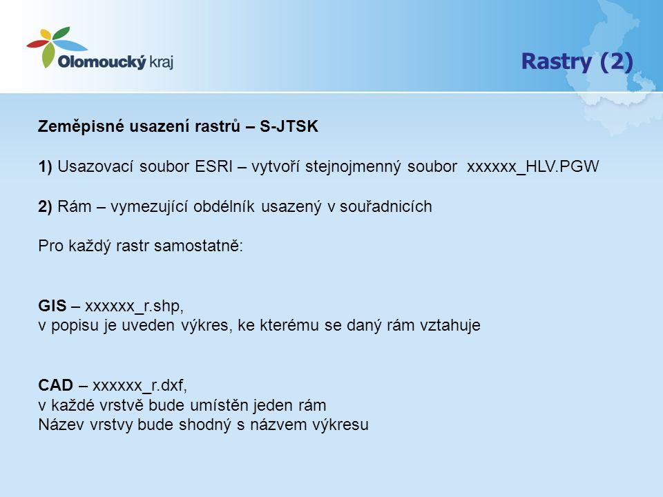 Rastry (2) Zeměpisné usazení rastrů – S-JTSK 1) Usazovací soubor ESRI – vytvoří stejnojmenný soubor xxxxxx_HLV.PGW 2) Rám – vymezující obdélník usazený v souřadnicích Pro každý rastr samostatně: GIS – xxxxxx_r.shp, v popisu je uveden výkres, ke kterému se daný rám vztahuje CAD – xxxxxx_r.dxf, v každé vrstvě bude umístěn jeden rám Název vrstvy bude shodný s názvem výkresu