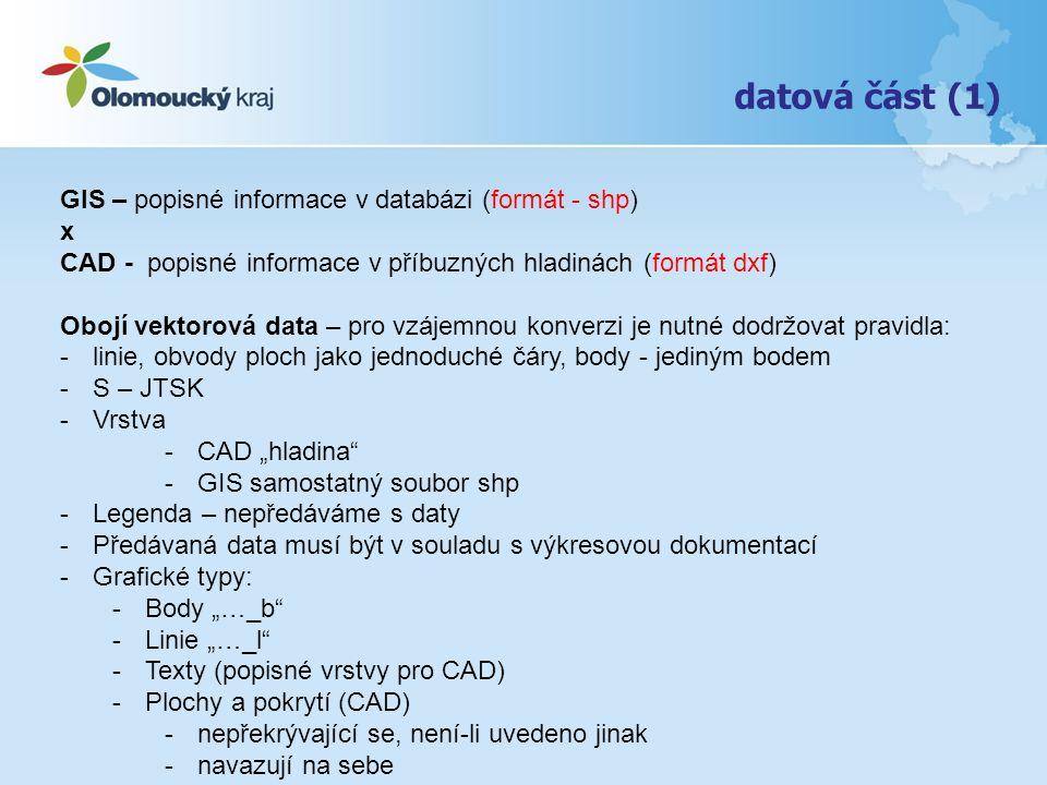 datová část (1) GIS – popisné informace v databázi (formát - shp) x CAD - popisné informace v příbuzných hladinách (formát dxf) Obojí vektorová data –