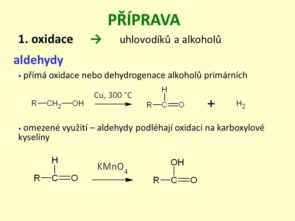 PŘÍPRAVA → uhlovodíků a alkoholů 1. oxidace aldehydy omezené využití – aldehydy podléhají oxidaci na karboxylové kyseliny přímá oxidace nebo dehydroge