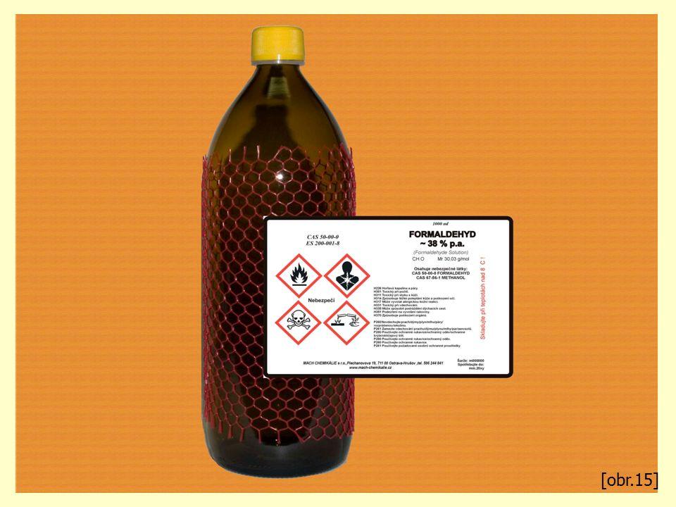 Methanal Je bezbarvý plyn, ostrého zápachu. Je toxický, žíravý a karcinogenní! V praxi se používá jeho 40% roztok – formalín Je jedním z metabolitů me