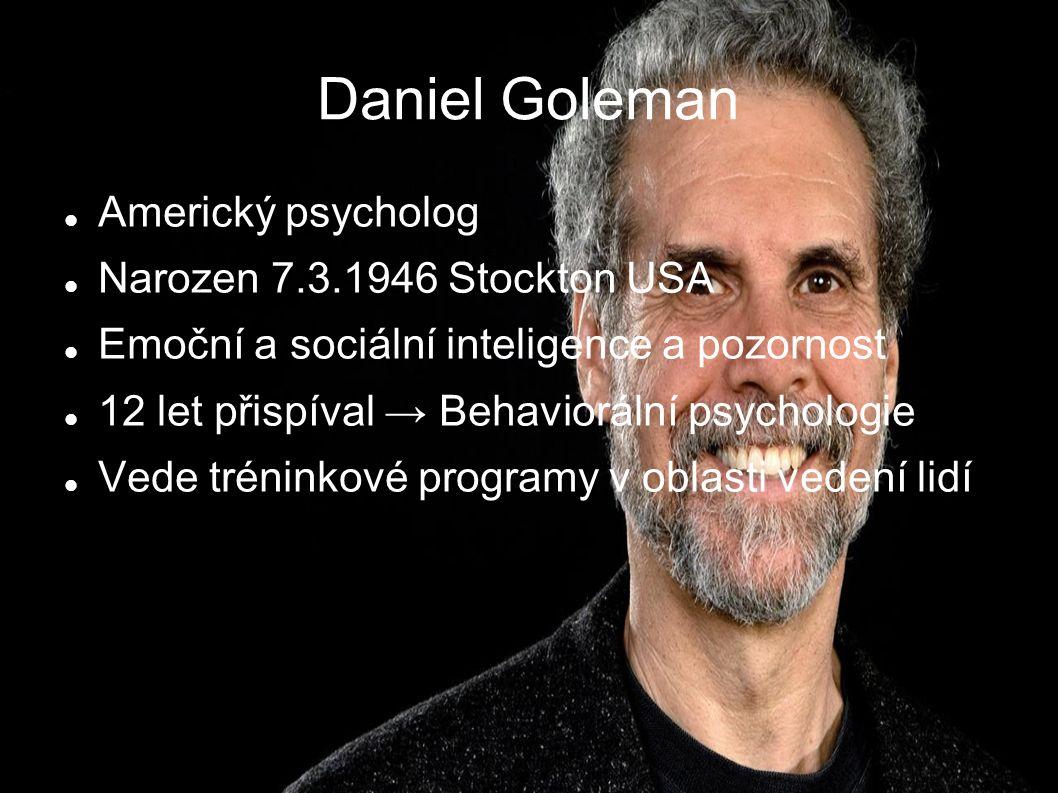 Daniel Goleman Americký psycholog Narozen 7.3.1946 Stockton USA Emoční a sociální inteligence a pozornost 12 let přispíval → Behaviorální psychologie