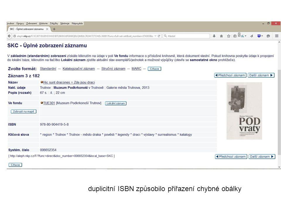 duplicitní ISBN způsobilo přiřazení chybné obálky