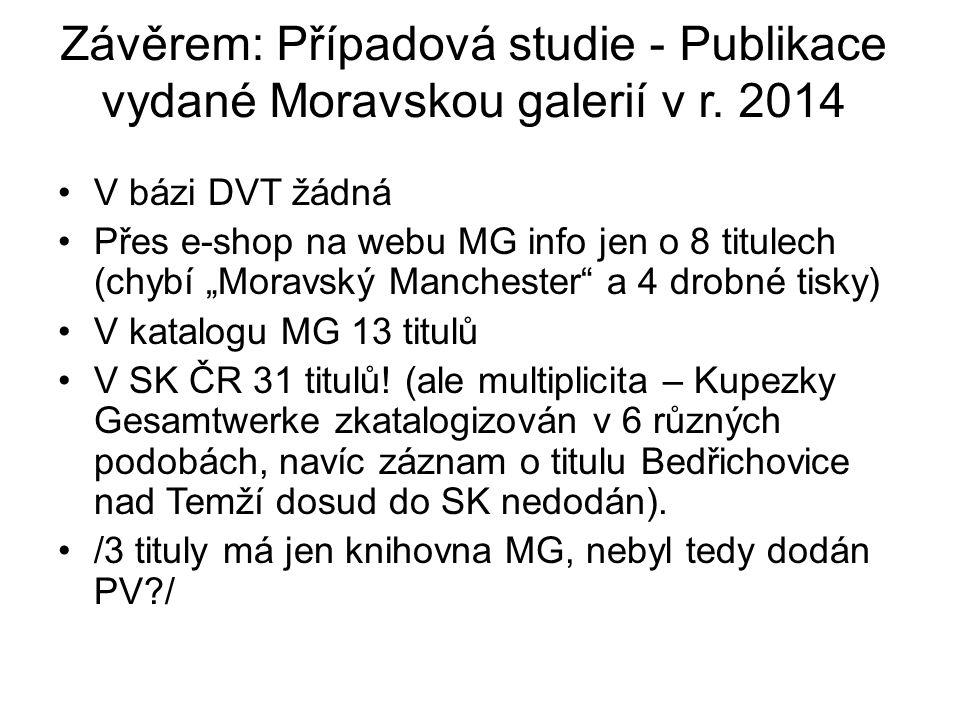 Závěrem: Případová studie - Publikace vydané Moravskou galerií v r.