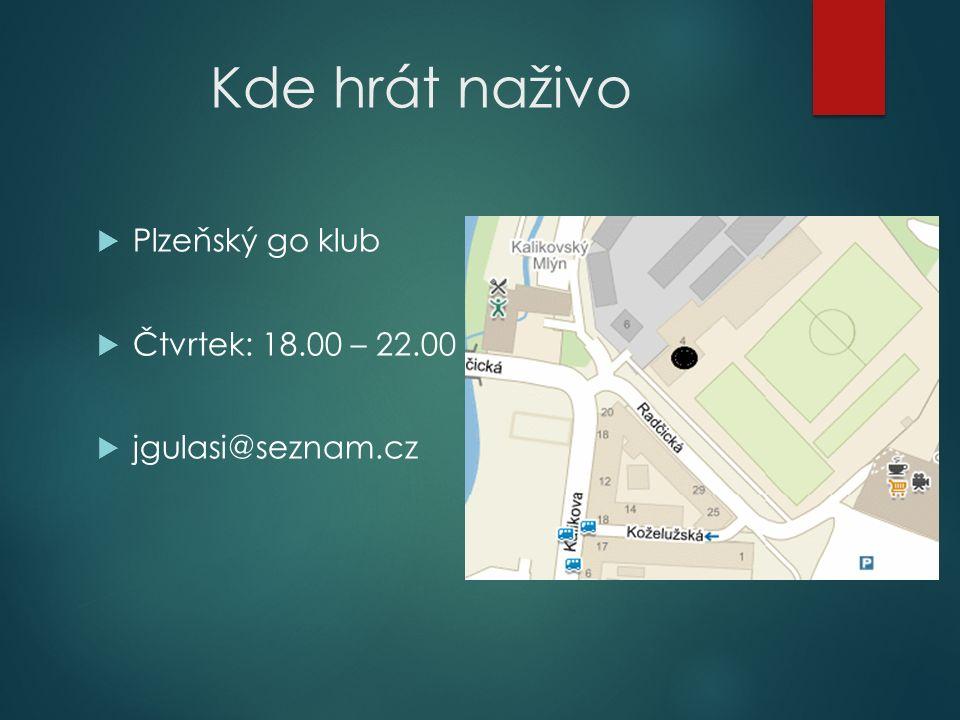 Kde hrát naživo  Plzeňský go klub  Čtvrtek: 18.00 – 22.00  jgulasi@seznam.cz